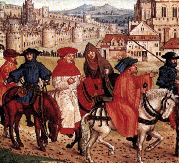 Pilgrims leaving Canterbury, taken from Lydgate's Siege od Thebes, Royal 18 D II f.148, 1455-1462
