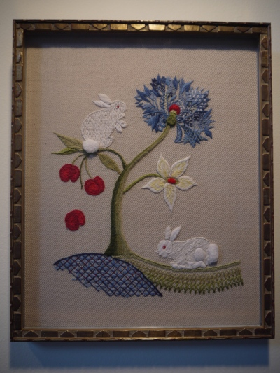 Memorial for Rozie (V&A in Tree), 2013 Jacobean embroidery: wool