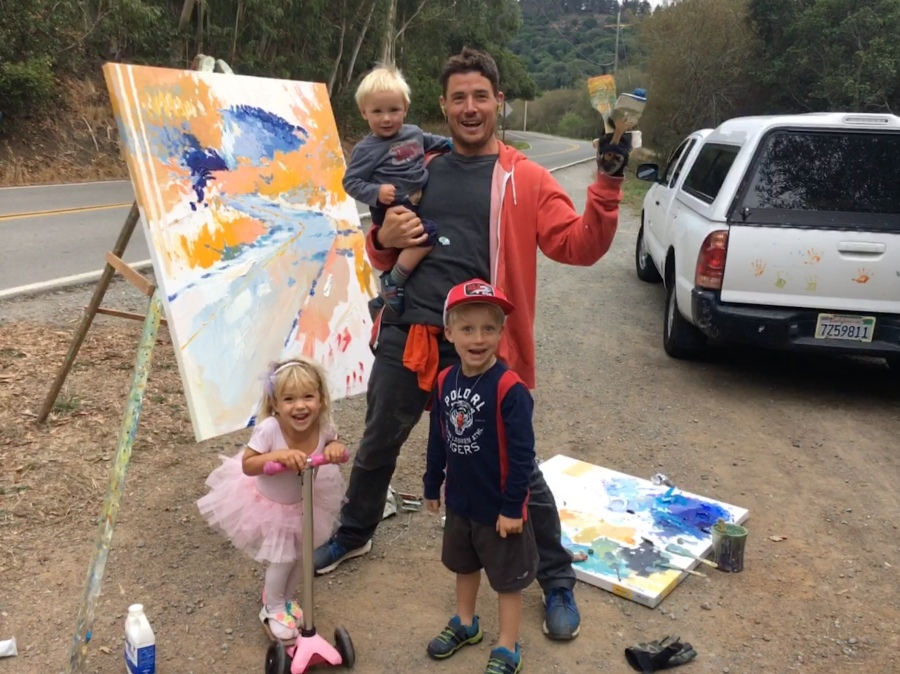 Nick and kiddos painting Soft Bend